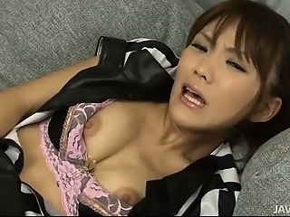 Soccer playing Japanese babe Nagisa Aiba toying pussy in fishnet panties