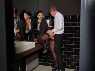 Sexy secretary fucked in black stockings