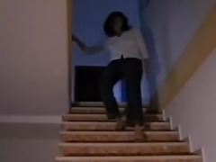 She comes down the steps in sexy Red high heel mules. to have them fucked and...