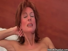 Sultry grandma probes her old pussy with a dildo free