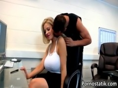 Blonde office whore with huge tits loves free