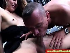 Italian tranny has her hard cock sucked