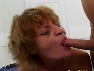 Crazy old mom gets two hard cocks and facial load