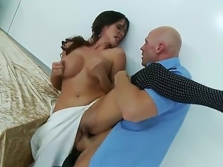 Woman with great juggs and perfect butt Ariella Ferrera is having wild banging with handsome baldheaded man Johnny Sins. Johnny is going to pound the bitch so hard.