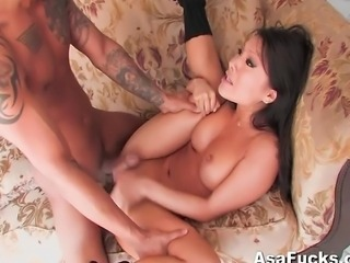 Asian pornstar Asa Akira gives Keni Styles a strip tease before fucking his brains out.