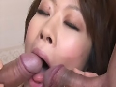 Mature asian milf sucks on two hard cocks free