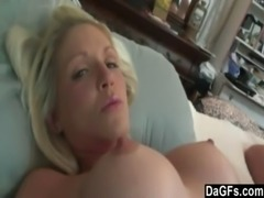 Busty blonde milf filled with jizz free