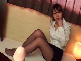 the innocent japanese pornstar wears nylon pantyhose practice her footjob skills on a dildo.
