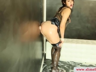 Cum drenched bukkake slut at the gloryhole in high def