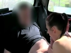 Euro slut tricked into blowing her horny stud in the cab HD