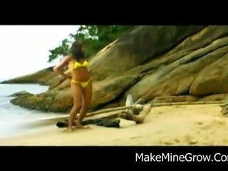 Sweet Ass Brazilian Chick gets boned by the sea