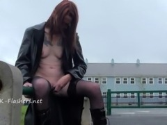 Old Brazens public flashing and daring granny exposing pussy and...