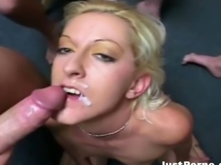 Hot sluts get rocked in the face with hot loads of jizz.