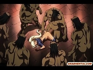 Hentai Elf gets penis milk filling her throat by ghetto monsters