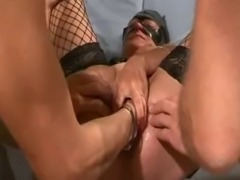 Extreme amateur slut is gang bang fisted and fucked with huge dildos then...