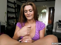 Carmen Ross turns dude on before giving handjob