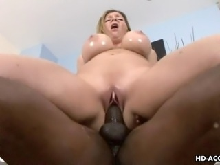This blonde babe with giant hooters has an older husband and he doesn't cater to her sexual needs. So, she gets her fucking other places and today she fucks this black dude who demolishes that meaty cooch of hers and makes her cum and cum over and over again.
