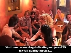 Amateur orgy with drunken chicks undressing and dancing in the bar