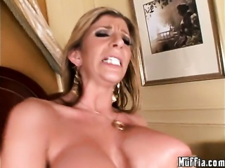 Jordan Ash makes Brunette Sutherland with giant boobs and shaved twat suck...