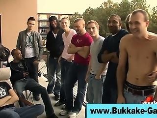 Bukkake loving gay gobbles cocks