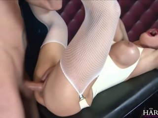 Blonde honey Cathy heaven teases and sucks on her sex slave's meat before taking him balls deep into her tight ass and pussy.