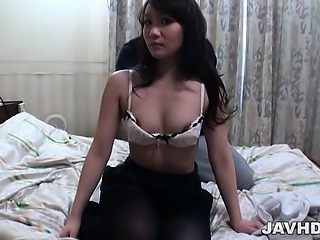 Busty Rin Matsuura in black pantyhose fondled and left with