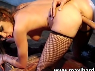 Hot brunette with clips on her tits gets fucked real hard she takes it like a good whore getting her cunt stretched then the dude shoots sperm inside her pussy and we get a creampie