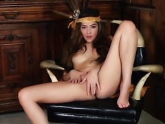 Cassie Laine with tiny tities and shaved bush has some time to stroke her...