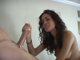 Stunning Latina gives amazing handjob and blowjob free