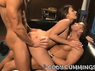 Intense cock sucking, cum gargling, ass slapping three way!