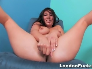 Here is another one of London's amazing solos that will have you wanting her even more. Lots of spit on her wet pussy and she pounds the hell out of it with her fat dildo.