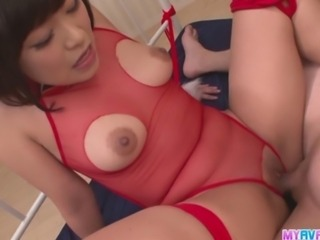 With her naughty red lingerie all cut up so she can get fucked easier, Aika Hoshino is in the mood for a deep dicking, and for a pussy creampie as well. He hammers her pussy as hard as he can, and when he spreads her legs open one last time, he´s filling her up.