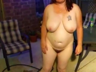 chubby pee and spread pussy on chair