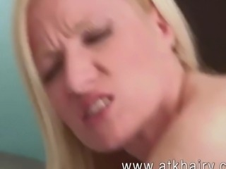 Mature and hairy Heidi Hanson fucks hard with her bold headed lover and gets plenty of cum on her big hairy bush!