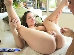 Busty lesbian babe getting her pussy fingered and squirting
