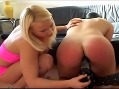 Extreme fetish femdom action, two nasty sluts spanked and fucked their male pet.