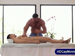 Masseur sucking his client