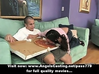 Brunette milf undresses and does blowjob for pizza guy with pizza on