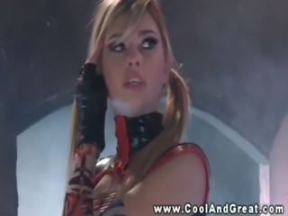 Latex babe filled up by two studs in their labratory free