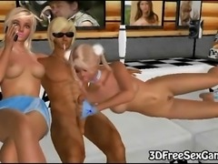 THis sexy 3D blonde babe is having her tight pussy pounded by two big cocks...