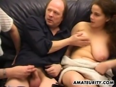 Busty girlfriend anal fucked in front of a milf