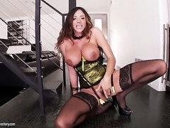 Brunette senora with big boobs fucks herself with fingers on cam for your...