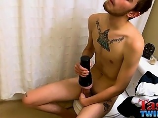 Chase has a cum shot ready to go and a Fleshlight to help