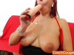 Stirring dame masturbation and even sexier cunt gape done by a eager redhead...