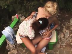 Natasha finds herself getting her love tunnel fingered by lesbian Vika