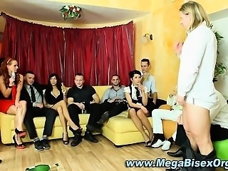 Group orgy blowjobs spin the bottle