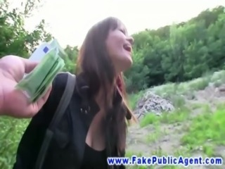Eager euro babe banged from behind in park for cash free