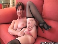 Classy grandma Joy gets fingered and masturbates with dildo up her ass free