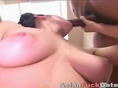 Tiny Japanese girl giving handjob and blowjob to group of men