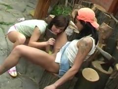 Brunette teen angels toying little twats outdoors